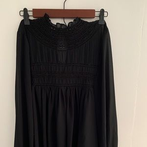 Tops - Black Sheer Victorian Blouse